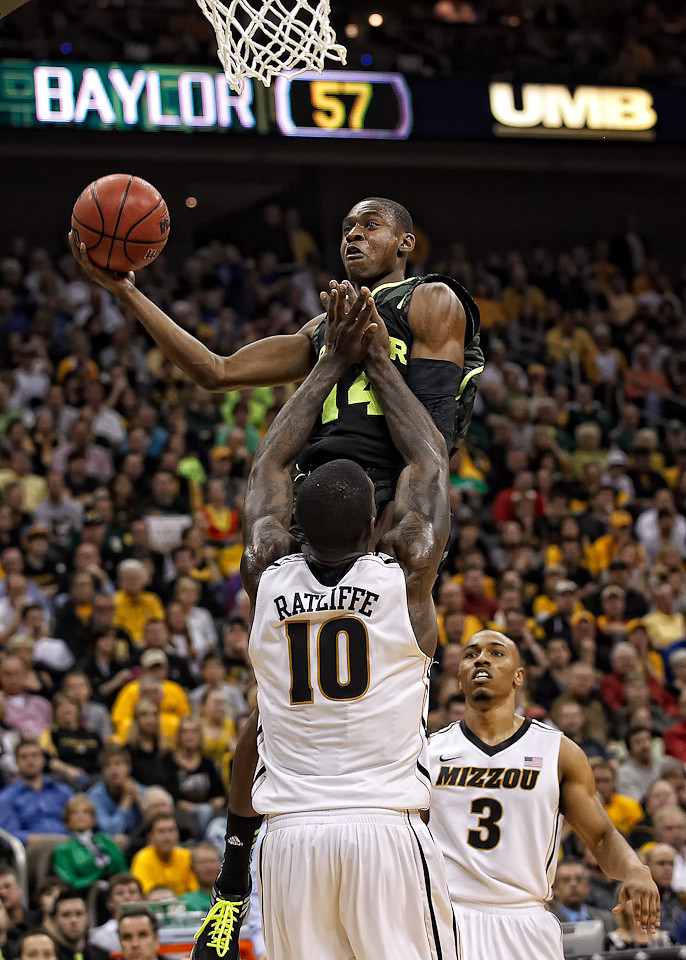 March 10, 2012: Baylor Bears guard Deuce Bello (14) goes up for a shot during the finals of the Phillips 66 Big 12 Men's Basketball Championship.  The Missouri Tigers defeated the Baylor Bears 90-75 at Sprint Center in Kansas City, Missouri.