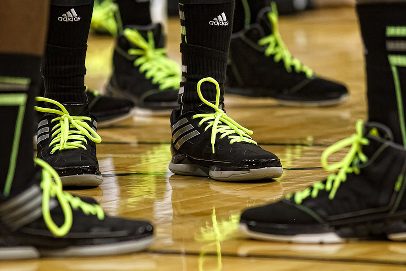 March 9, 2012: Vibrant Baylor shoelaces before the semifinals of the Phillips 66 Big 12 Men's Basketball Championship between the Baylor Bears and the Kansas Jayhawks at Sprint Center in Kansas City, Missouri.