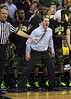 March 10, 2012: Baylor Bears head coach Scott Drew gets fired up after a dunk during the finals of the Phillips 66 Big 12 Men's Basketball Championship.  The Missouri Tigers defeated the Baylor Bears 90-75 at Sprint Center in Kansas City, Missouri.