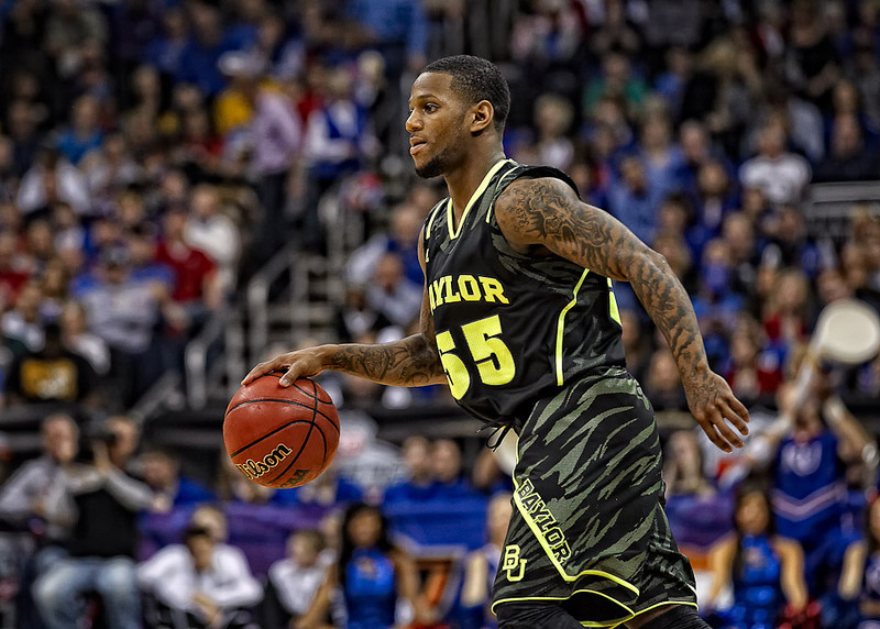 March 9, 2012: Baylor Bears guard Pierre Jackson (55) brings the ball up court during the semifinals of the Phillips 66 Big 12 Men's Basketball Championship.  The Baylor Bears defeated the Kansas Jayhawks 81-72 at Sprint Center in Kansas City, Missouri.