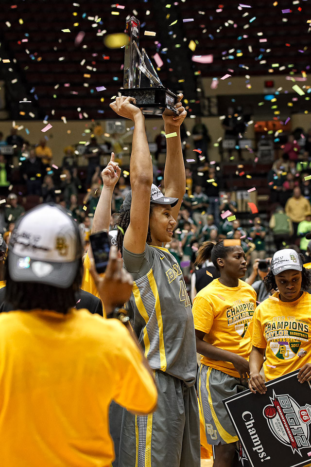 March 10, 2012: Baylor Lady Bears center Brittney Griner (42) holds up her MVP trophy after the Phillips 66 Big 12 Women's Basketball Championship final.  The Baylor Lady Bears defeated the Texas A&M Aggies 73-50 at Municipal Auditorium in Kansas City, Missouri.