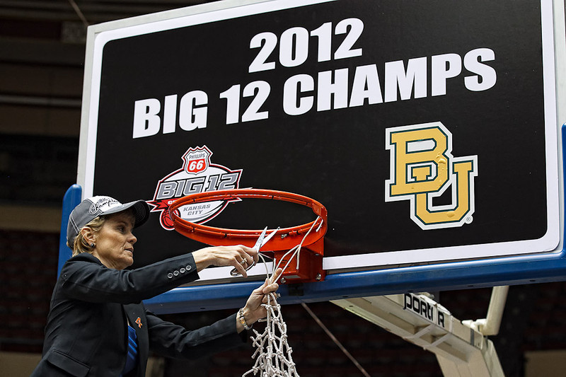 March 10, 2012: Baylor Lady Bears head coach Kim Mulkey cuts a piece of the net after the Phillips 66 Big 12 Women's Basketball Championship final.  The Baylor Lady Bears defeated the Texas A&M Aggies 73-50 at Municipal Auditorium in Kansas City, Missouri.