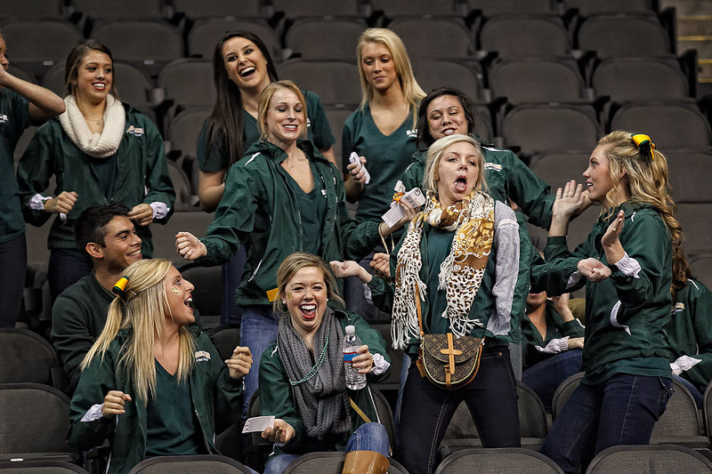 March 9, 2012: Baylor yell leaders show off for the camera before the semifinals of the Phillips 66 Big 12 Men's Basketball Championship between the Baylor Bears and the Kansas Jayhawks at Sprint Center in Kansas City, Missouri.