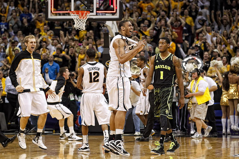 March 10, 2012: Missouri Tigers center Steve Moore (32) celebrates after the finals of the Phillips 66 Big 12 Men's Basketball Championship.  The Missouri Tigers defeated the Baylor Bears 90-75 at Sprint Center in Kansas City, Missouri.
