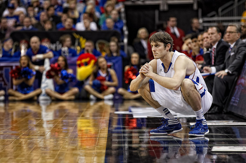 March 9, 2012: Kansas Jayhawks guard Conner Teahan (2) waits at the scorer's table to enter the game during the semifinals of the Phillips 66 Big 12 Men's Basketball Championship.  The Baylor Bears defeated the Kansas Jayhawks 81-72 at Sprint Center in Kansas City, Missouri.
