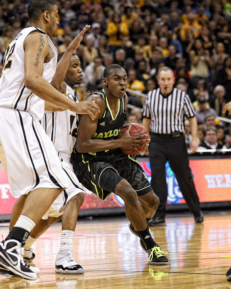 March 10, 2012: Baylor Bears guard Deuce Bello (14) battles for position during the finals of the Phillips 66 Big 12 Men's Basketball Championship.  The Missouri Tigers defeated the Baylor Bears 90-75 at Sprint Center in Kansas City, Missouri.