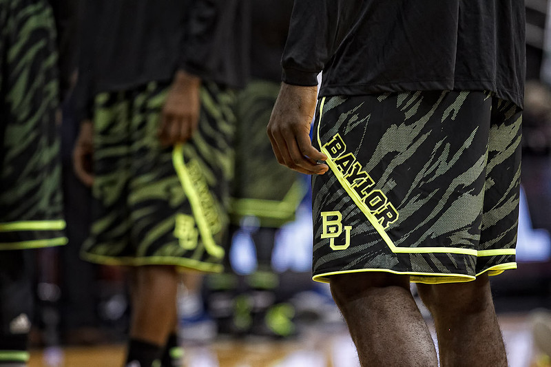 March 9, 2012: Baylor players show off new uniforms before the semifinals of the Phillips 66 Big 12 Men's Basketball Championship between the Baylor Bears and the Kansas Jayhawks at Sprint Center in Kansas City, Missouri.