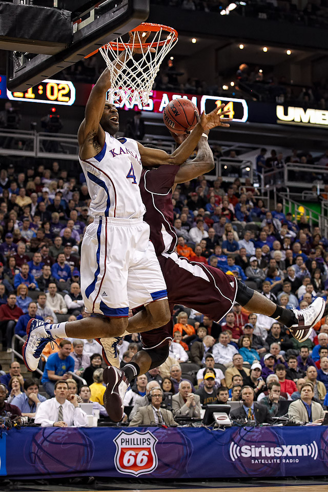 March 8, 2012: Kansas Jayhawks forward Justin Wesley (4) loses the handle during the quarterfinals of the Phillips 66 Big 12 Men's Basketball Championship.  The Kansas Jayhawks defeated the Texas A&M Aggies 83-66 at Sprint Center in Kansas City, Missouri.