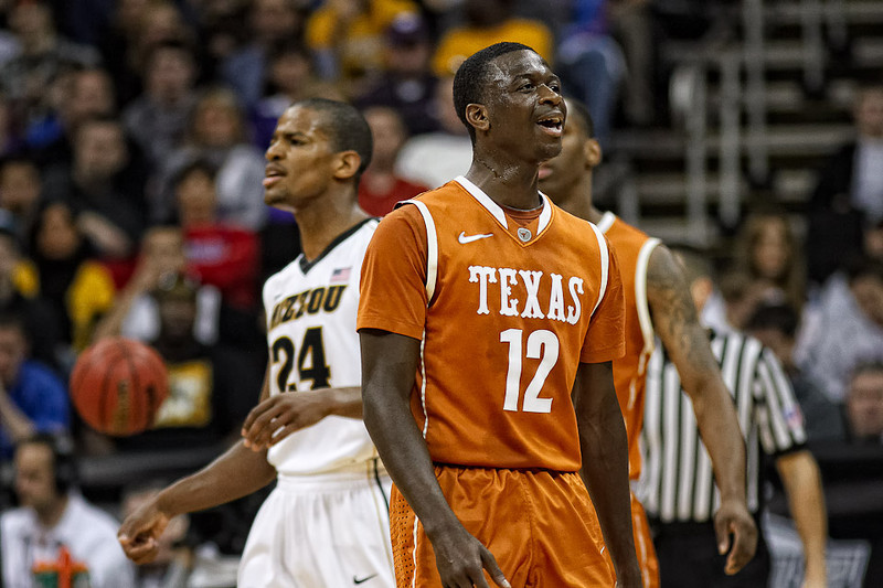 March 9, 2012: Texas Longhorns guard Myck Kabongo (12) reacts after a call during the semifinals of the Phillips 66 Big 12 Men's Basketball Championship.  The Missouri Tigers defeated the Texas Longhorns 81-67 at Sprint Center in Kansas City, Missouri.