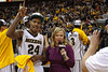 March 10, 2012: Missouri Tigers guard Kim English (24) interviews with ESPN sideline reporter Holly Rowe after the finals of the Phillips 66 Big 12 Men's Basketball Championship.  The Missouri Tigers defeated the Baylor Bears 90-75 at Sprint Center in Kansas City, Missouri.