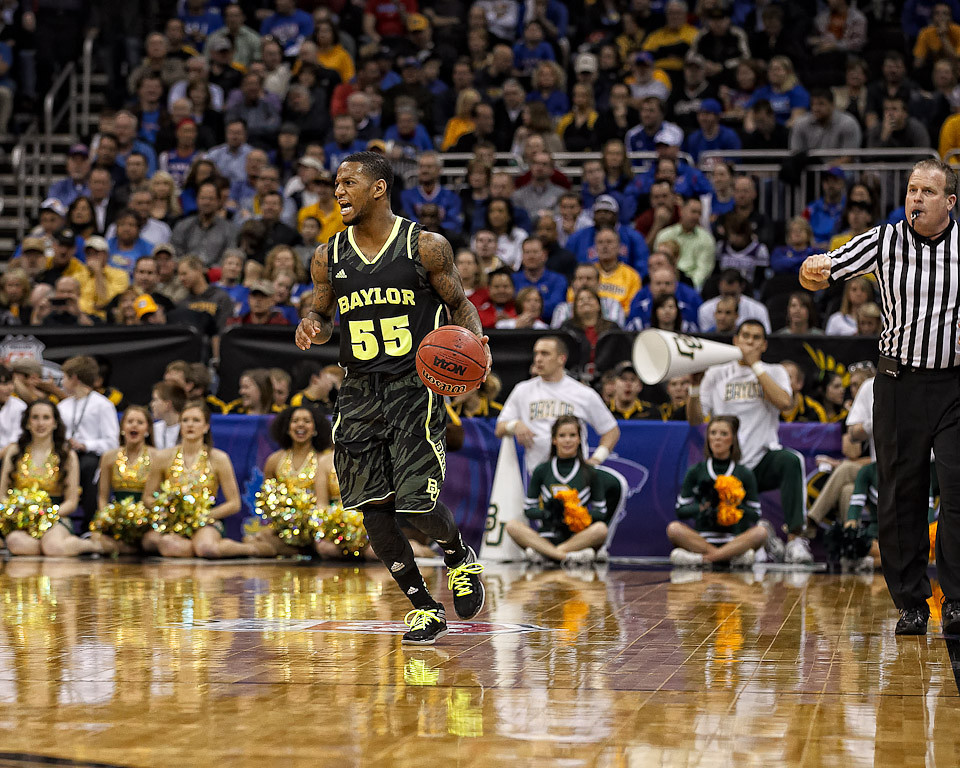 March 9, 2012: Baylor Bears guard Pierre Jackson (55) brings the ball up court during the semifinals of the Phillips 66 Big 12 Men's Basketball Championship.  The Baylor Bears led the Kansas Jayhawks 43-35 at the half at Sprint Center in Kansas City, Missouri.