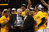 March 10, 2012: Missouri Tigers head coach Frank Haith is presented with the Big 12 championship trophy after the finals of the Phillips 66 Big 12 Men's Basketball Championship.  The Missouri Tigers defeated the Baylor Bears 90-75 at Sprint Center in Kansas City, Missouri.
