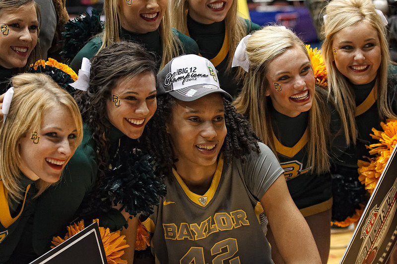 March 10, 2012: Baylor yell leaders pose for a picture with Baylor Lady Bears center Brittney Griner (42) after the Phillips 66 Big 12 Women's Basketball Championship final.  The Baylor Lady Bears defeated the Texas A&M Aggies 73-50 at Municipal Auditorium in Kansas City, Missouri.