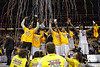 March 10, 2012: Missouri players celebrate after the finals of the Phillips 66 Big 12 Men's Basketball Championship.  The Missouri Tigers defeated the Baylor Bears 90-75 at Sprint Center in Kansas City, Missouri.