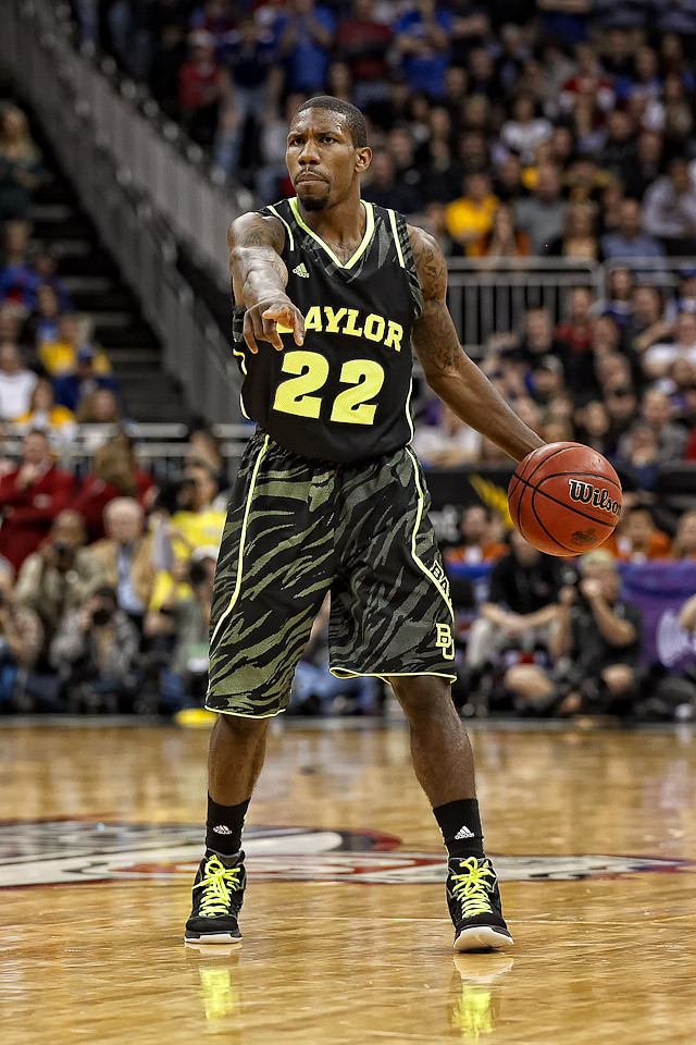 March 9, 2012: Baylor Bears guard A.J. Walton (22) directs teammates during the semifinals of the Phillips 66 Big 12 Men's Basketball Championship.  The Baylor Bears defeated the Kansas Jayhawks 81-72 at Sprint Center in Kansas City, Missouri.