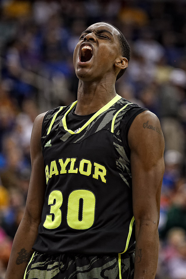 March 9, 2012: Baylor Bears forward Quincy Miller (30) yells after making a basket during the semifinals of the Phillips 66 Big 12 Men's Basketball Championship.  The Baylor Bears defeated the Kansas Jayhawks 81-72 at Sprint Center in Kansas City, Missouri.