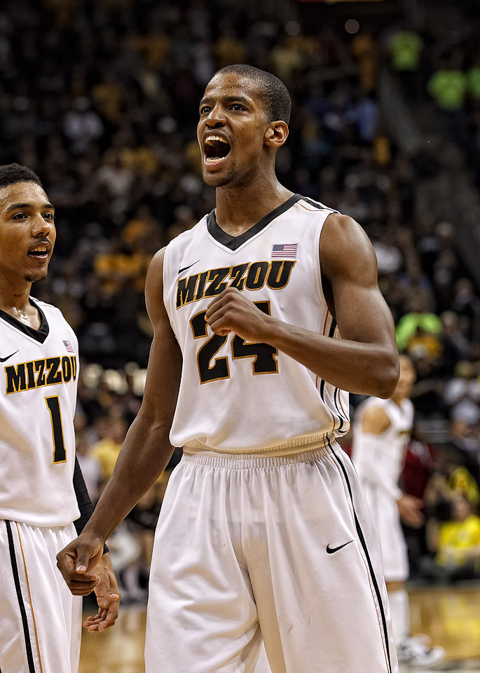 March 10, 2012: Missouri Tigers guard Kim English (24) yells with excitement near the end of the finals of the Phillips 66 Big 12 Men's Basketball Championship.  The Missouri Tigers defeated the Baylor Bears 90-75 at Sprint Center in Kansas City, Missouri.