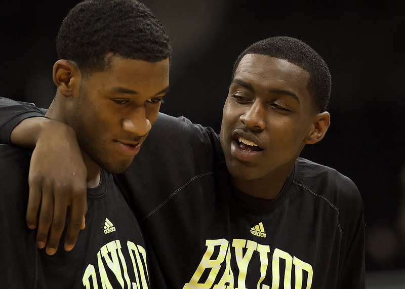 March 9, 2012: Baylor Bears forward Quincy Miller (right) shares some advice with forward Perry Jones III (left) before the semifinals of the Phillips 66 Big 12 Men's Basketball Championship between the Baylor Bears and the Kansas Jayhawks at Sprint Center in Kansas City, Missouri.