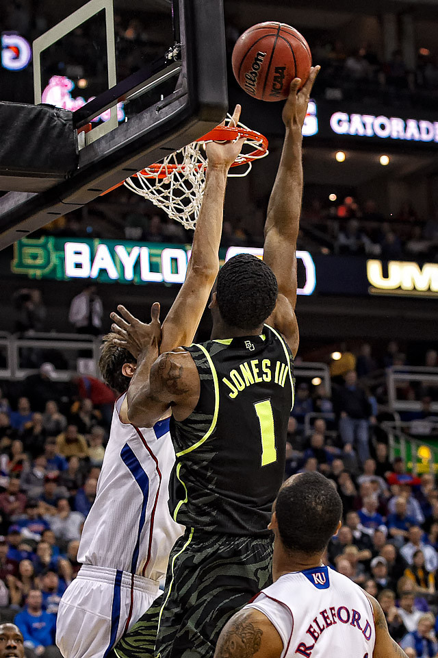 March 9, 2012: Baylor Bears forward Perry Jones III (1) goes up for a shot while Kansas Jayhawks center Jeff Withey (5) defends during the semifinals of the Phillips 66 Big 12 Men's Basketball Championship.  The Baylor Bears defeated the Kansas Jayhawks 81-72 at Sprint Center in Kansas City, Missouri.