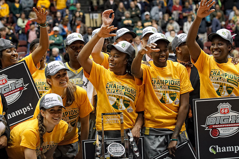 March 10, 2012: Baylor players celebrate after the Phillips 66 Big 12 Women's Basketball Championship final.  The Baylor Lady Bears defeated the Texas A&M Aggies 73-50 at Municipal Auditorium in Kansas City, Missouri.