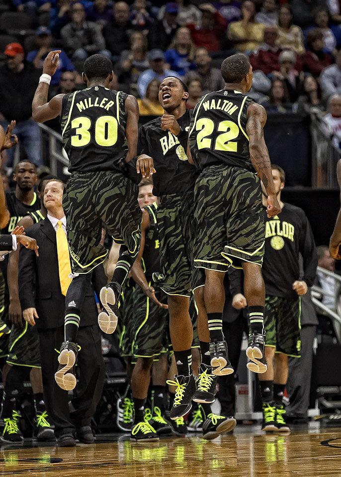 March 9, 2012: Baylor players celebrate after making a play during the semifinals of the Phillips 66 Big 12 Men's Basketball Championship.  The Baylor Bears led the Kansas Jayhawks 43-35 at the half at Sprint Center in Kansas City, Missouri.
