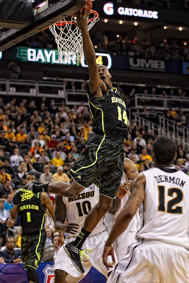 March 10, 2012: Baylor Bears guard Deuce Bello (14) goes up for a reverse layup during the finals of the Phillips 66 Big 12 Men's Basketball Championship.  The Missouri Tigers defeated the Baylor Bears 90-75 at Sprint Center in Kansas City, Missouri.