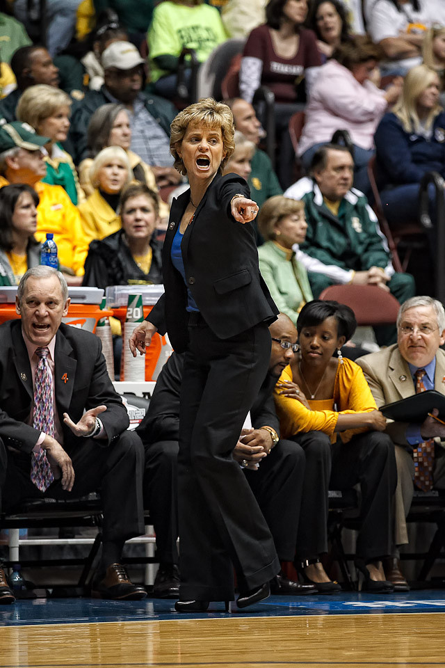 March 10, 2012: Baylor Lady Bears head coach Kim Mulkey yells from the sideline during the Phillips 66 Big 12 Women's Basketball Championship final.  The Baylor Lady Bears defeated the Texas A&M Aggies 73-50 at Municipal Auditorium in Kansas City, Missouri.