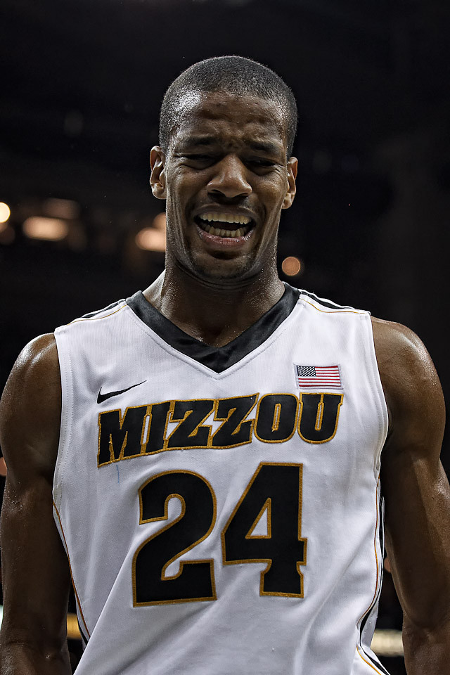 March 9, 2012: Missouri Tigers guard Kim English (24) yells out in pain after getting hurt during the semifinals of the Phillips 66 Big 12 Men's Basketball Championship.  The Missouri Tigers defeated the Texas Longhorns 81-67 at Sprint Center in Kansas City, Missouri.