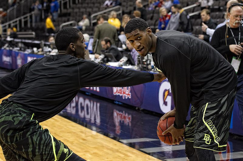 March 9, 2012: Baylor Bears forward Quincy Miller (30) d's up against forward Perry Jones III (1) before the semifinals of the Phillips 66 Big 12 Men's Basketball Championship between the Baylor Bears and the Kansas Jayhawks at Sprint Center in Kansas City, Missouri.