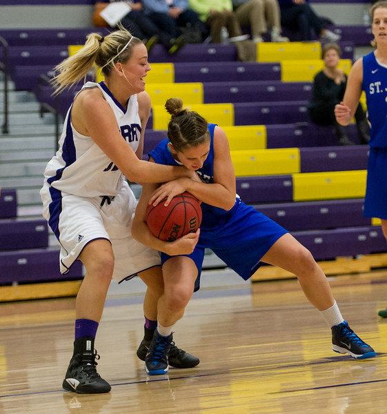 Theresa Hendrix (33) fights to keep the ball during the Women's Basketball game between Saint Joseph's (ME) and Curry Collage at Curry College, Milton, Massachusetts, USA on November 16, 2013. Photo: Chris Poss