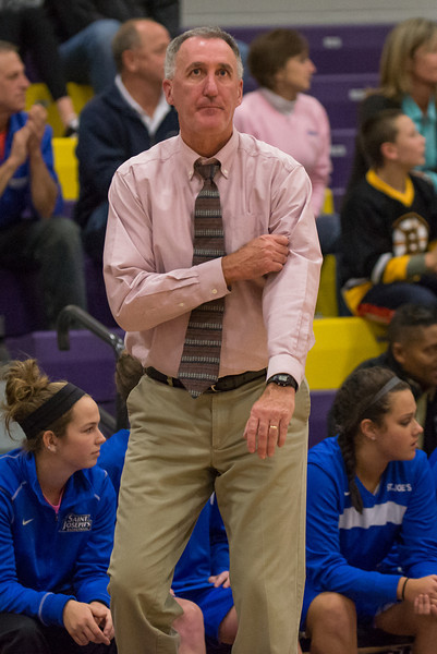 Monk's Head Coach Mike McDevitt during the Women's Basketball game between Saint Joseph's (ME) and Curry Collage at Curry College, Milton, Massachusetts, USA on November 16, 2013. Photo: Chris Poss