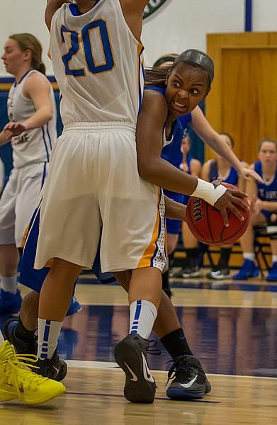 Sarah Assante (20)  looks to pass during the Women's Basketball game between Saint Joseph's (ME) and Maine Maritime Academy at Maine Maritime Academy, Castine, Maine, USA on November 23, 2013. Photo: Chris Poss