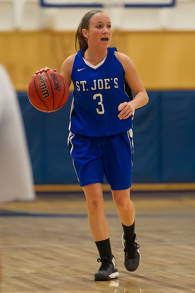 Mackenzie Dufour (3) during the Women's Basketball game between Saint Joseph's (ME) and Maine Maritime Academy at Maine Maritime Academy, Castine, Maine, USA on November 23, 2013. Photo: Chris Poss