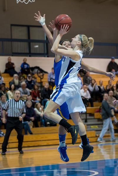 Danyelle Shufelt (15) shoots during the Women's Basketball game between Saint Joseph's (ME) and Emmanuel College at Saint Joseph's College, Standish, Maine, USA on February 02, 2013. Photo: Chris Poss
