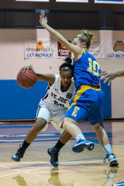 Sarah Assante (20) during the Women's Basketball game between Saint Joseph's (ME) and Emmanuel College at Saint Joseph's College, Standish, Maine, USA on February 02, 2013. Photo: Chris Poss
