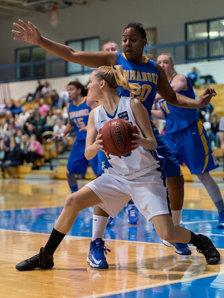 Danyelle Shufelt (15) looks to pass during the Women's Basketball game between Saint Joseph's (ME) and Emmanuel College at Saint Joseph's College, Standish, Maine, USA on February 02, 2013. Photo: Chris Poss