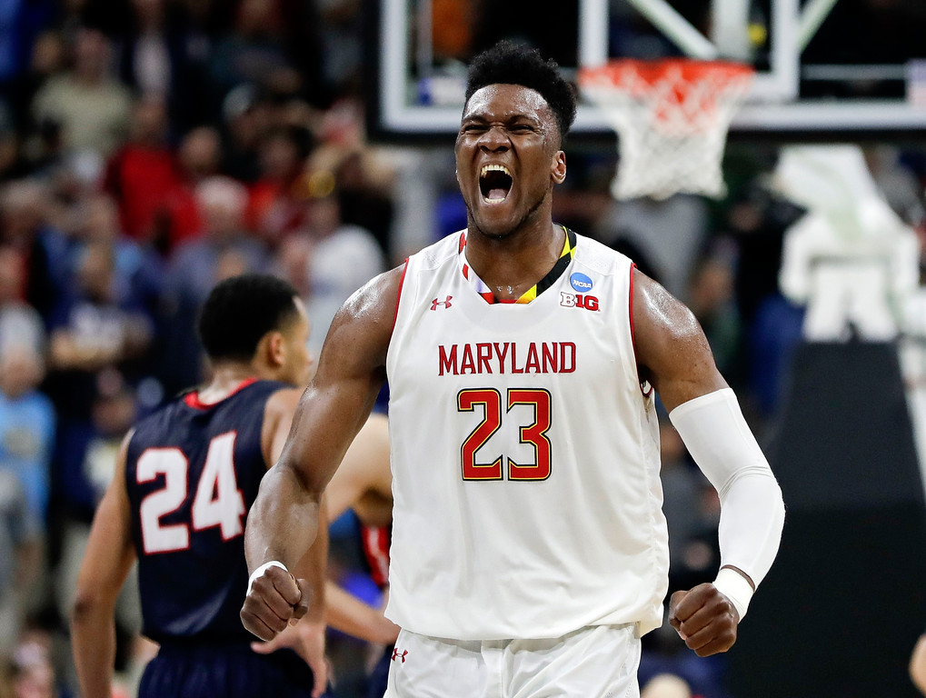 . Maryland \'s Bruno Fernando (23) celebrates during the final moments of the second half of a first round men\'s college basketball game against Belmont in the NCAA Tournament in Jacksonville, Fla., Thursday, March 21, 2019. (AP Photo/John Raoux)