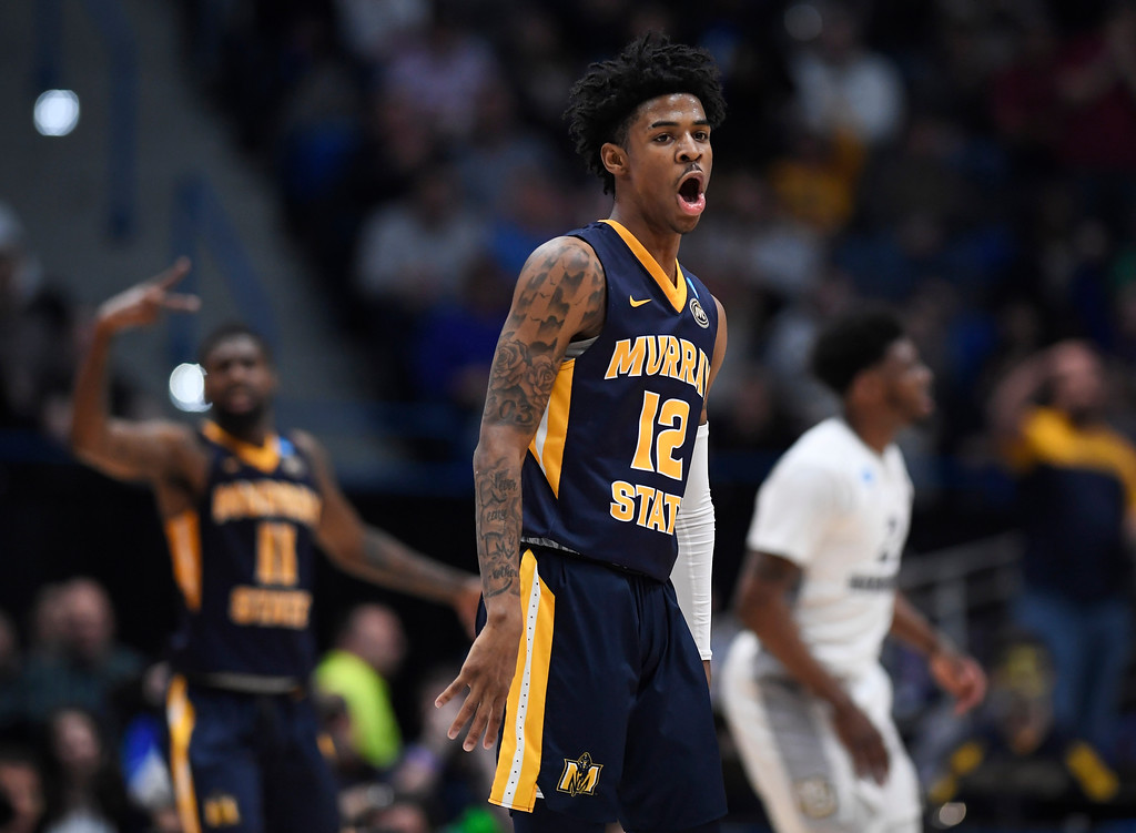. Murray State\'s Ja Morant (12) reacts during the first half of a first round men\'s college basketball game against Marquette in the NCAA tournament, Thursday, March 21, 2019, in Hartford, Conn. (AP Photo/Jessica Hill)