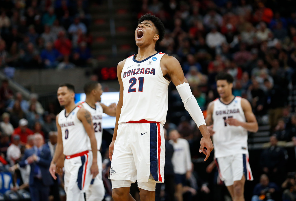 . Gonzaga forward Rui Hachimura (21) celebrates after Gonzaga scored against Fairleigh Dickinson during the first half of a first-round game in the NCAA men�s college basketball tournament Thursday, March 21, 2019, in Salt Lake City. (AP Photo/Rick Bowmer)