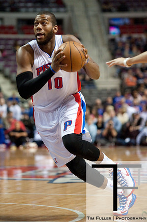 Feb 11, 2013; Auburn Hills, MI, USA; Detroit Pistons center Greg Monroe (10) drives to the basket during the first quarter against the New Orleans Hornets at The Palace. Mandatory Credit: Tim Fuller-USA TODAY Sports