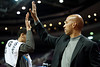 Feb 11, 2013; Auburn Hills, MI, USA; New Orleans Hornets head coach Monty Williams (right) high fives power forward Anthony Davis (left) after the game against the Detroit Pistons at The Palace. Hornets won 105-86. Mandatory Credit: Tim Fuller-USA TODAY Sports