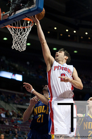 Feb 11, 2013; Auburn Hills, MI, USA;Detroit Pistons point guard Jose Calderon (8) goes to the basket during the first quarter against the New Orleans Hornets at The Palace. Mandatory Credit: Tim Fuller-USA TODAY Sports