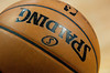 Feb 11, 2013; Auburn Hills, MI, USA; A detailed view of the basketball during the game between the Detroit Pistons and the New Orleans Hornets at The Palace. Mandatory Credit: Tim Fuller-USA TODAY Sports