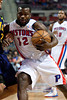 Feb 11, 2013; Auburn Hills, MI, USA; Detroit Pistons point guard Will Bynum (12) drives to the basket against the New Orleans Hornets during the game at The Palace. Mandatory Credit: Tim Fuller-USA TODAY Sports
