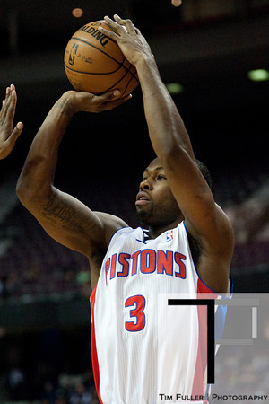 Feb 11, 2013; Auburn Hills, MI, USA; Detroit Pistons point guard Rodney Stuckey (3) shoots during the first quarter against the New Orleans Hornets at The Palace. Mandatory Credit: Tim Fuller-USA TODAY Sports
