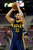 Feb 11, 2013; Auburn Hills, MI, USA; New Orleans Hornets power forward Ryan Anderson (33) shoots during the fourth quarter against the Detroit Pistons at The Palace. Hornets won 105-86. Mandatory Credit: Tim Fuller-USA TODAY Sports