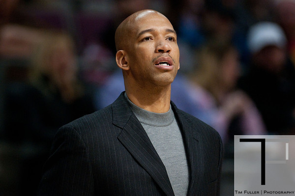 Feb 11, 2013; Auburn Hills, MI, USA; New Orleans Hornets head coach Monty Williams during the first quarter against the Detroit Pistons at The Palace. Mandatory Credit: Tim Fuller-USA TODAY Sports