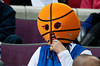 Feb 11, 2013; Auburn Hills, MI, USA; A Detroit Pistons fan watches during the third quarter against the New Orleans Hornets at The Palace. Hornets won 105-86. Mandatory Credit: Tim Fuller-USA TODAY Sports