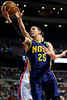 Feb 11, 2013; Auburn Hills, MI, USA; New Orleans Hornets shooting guard Austin Rivers (25) goes to the basket during the third quarter against the Detroit Pistons at The Palace. Hornets won 105-86. Mandatory Credit: Tim Fuller-USA TODAY Sports