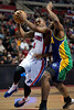 Feb 11, 2013; Auburn Hills, MI, USA; Detroit Pistons point guard Rodney Stuckey (3) drives to the basket against the New Orleans Hornets during the second quarter at The Palace. Mandatory Credit: Tim Fuller-USA TODAY Sports